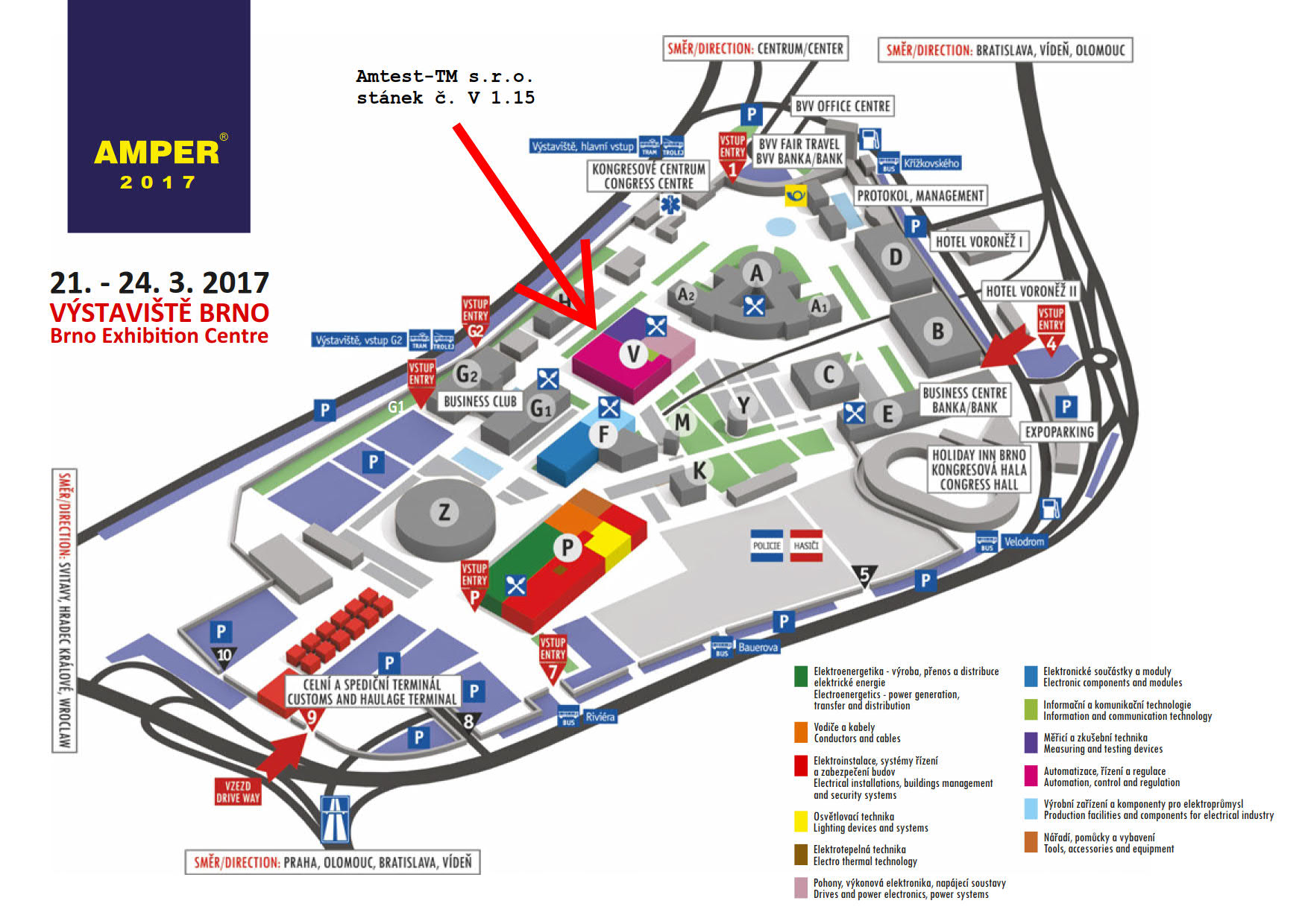 Map of exhibition centre at Brno