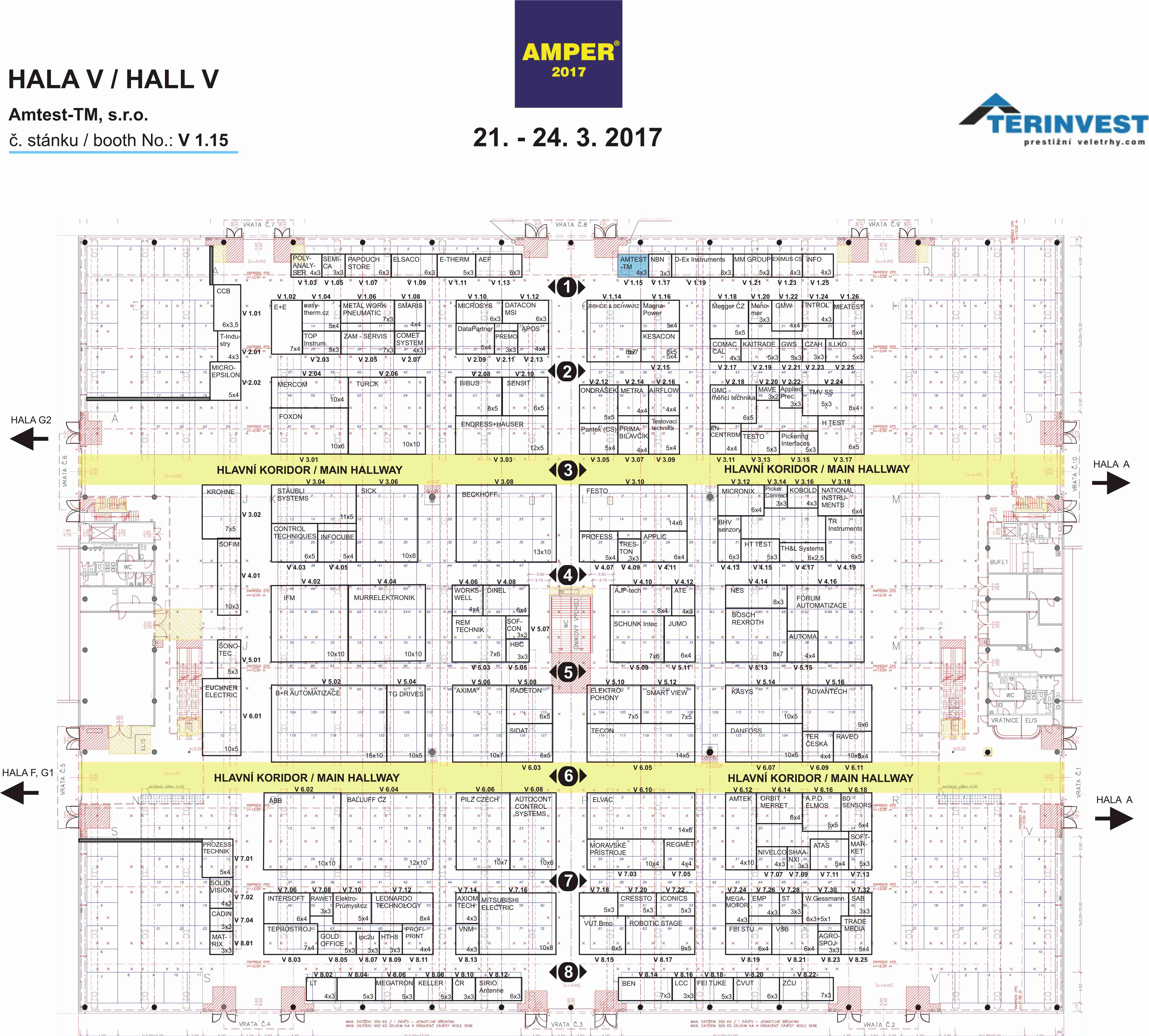 Floor plan of hall V with Amtest-TM booth